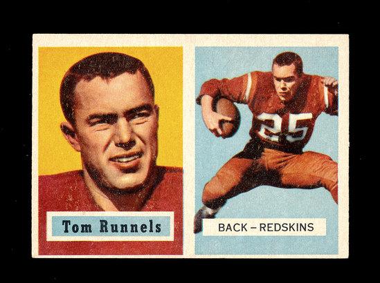 1957 Topps Football Card #110 Tom Runnels Washington Redskins.