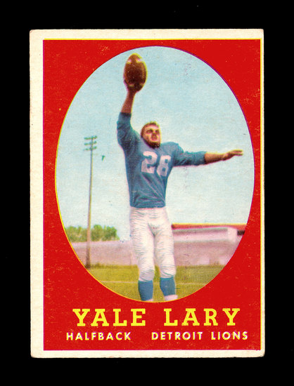 1958 Topps Football Cards #18 Hall of Famer Yale Larry Detroit Lions.
