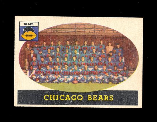 1958 Topps Football Cards #29 Chicago Bears Team Card.