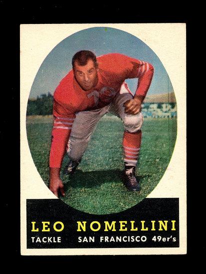 1958 Topps Football Cards #89 Hall of Famer Leo Nomellini San Francisco 49e