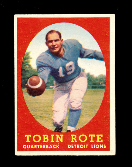 1958 Topps Football Cards #94 Tobin Rote Detroit Lions.
