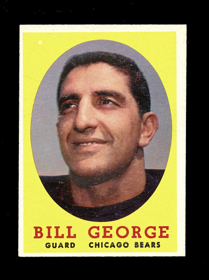1958 Topps Football Cards #119 Hall of Famer Bill George Chicago Bears.