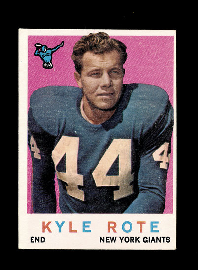 1959 Topps Football Card #7 Kyle Rote New York Giants.