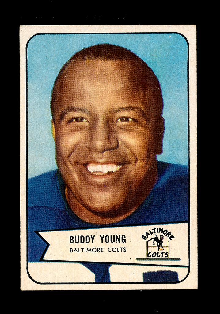 1954 Bowman Football Card #38 Buddy Young Baltimore Colts.