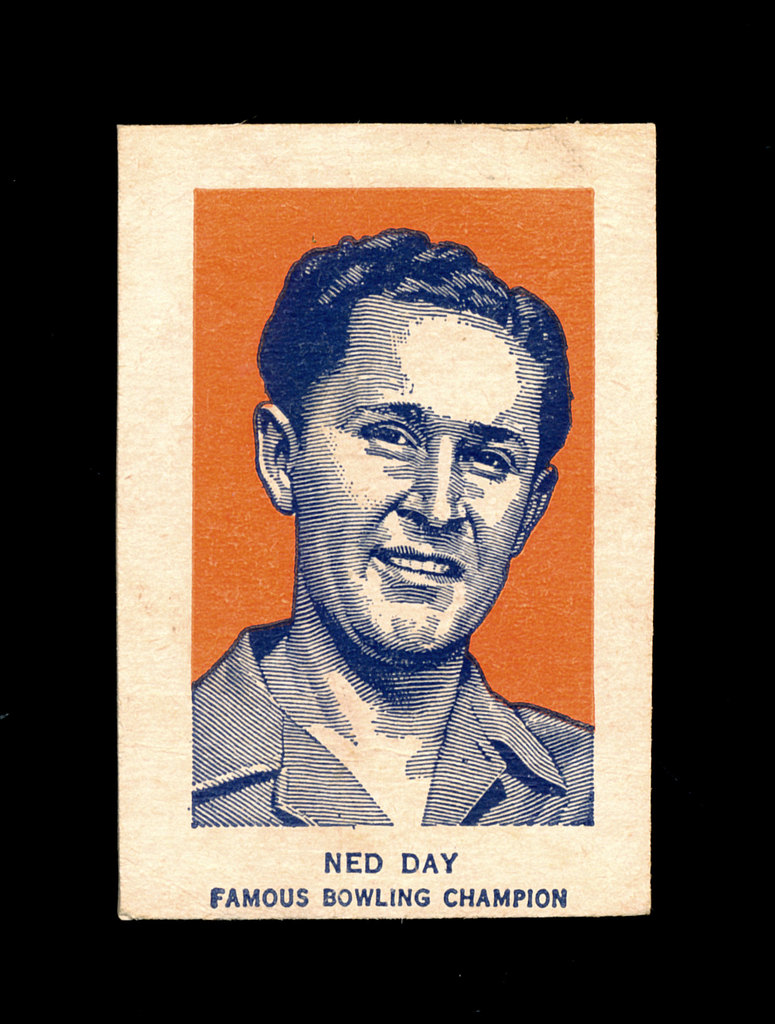 1952 Wheaties Cereal Hand Cut Sports Card Ned Day Famous Bowling Champion.
