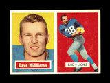 1957 Topps Football Card #8 Dave Middleton Detroit Lions.