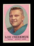 1958 Topps Football Cards #81 Hall of Famer Louis Creekmur Detroit Lions.