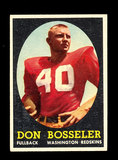 1958 Topps ROOKIE Football Cards #132 Rookie Don Bosseler Washington Redski