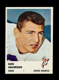 1961 Fleer Football Card #151 Ken Adamson Denver Broncos.