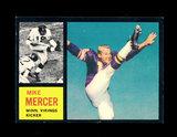 1962 Topps Football Card #97 Mike Mercer Minnesota Vikings.