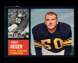 1962 Topps Football Card #135 John Reger Pittsburgh Steelers.