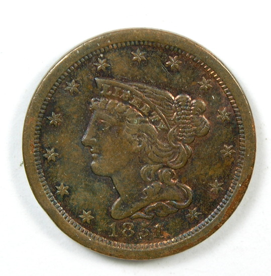 9.    1851  U.S. Braided Hair Half Cent