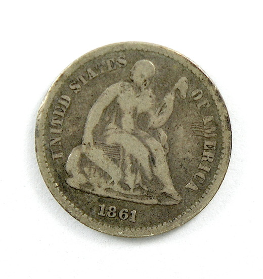 39.  1861   Seated Half Dime