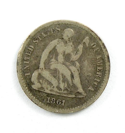 39. 1861   Seated Half Dime