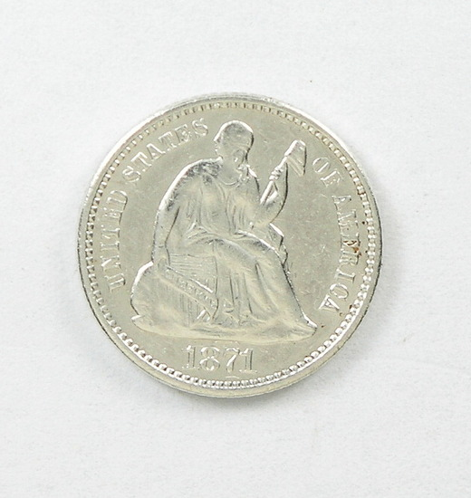 40.  1871   Seated Half Dime