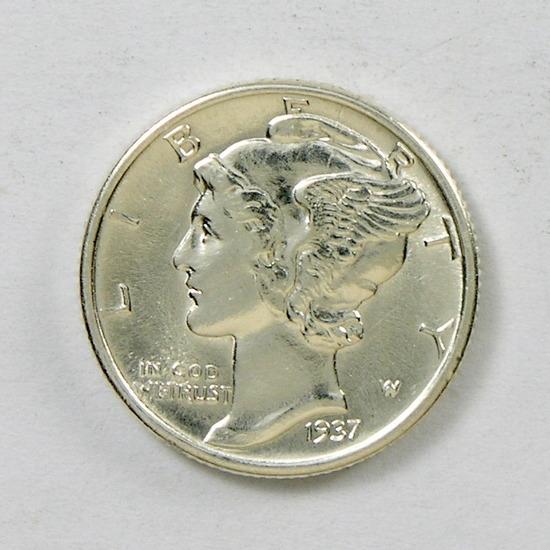 54. 1937   Mercury Dime
