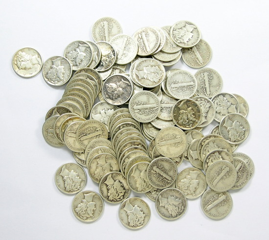 56.  Bag of 100 Mercury Dimes