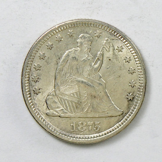61.  1875   Seated Quarter Dollar