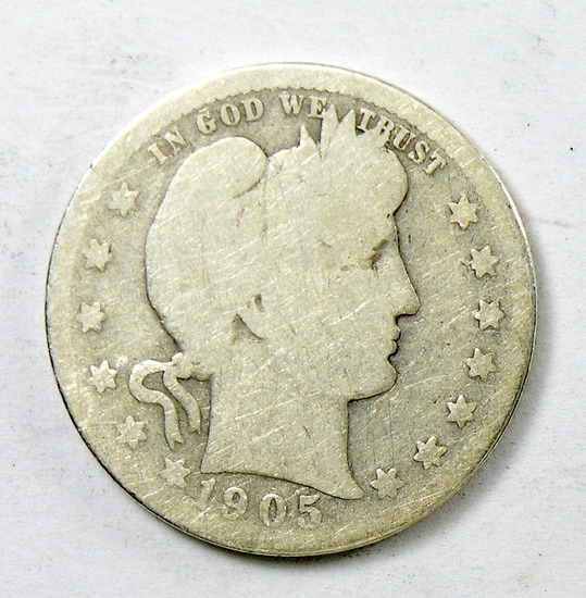 69.  1905-O Barber Quarter Dollar