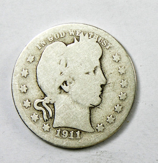 70.  1911-D Barber Quarter Dollar