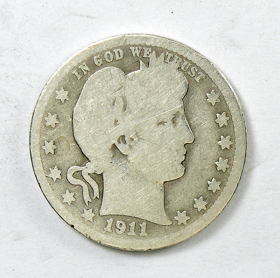 71.  1911-D Barber Quarter Dollar