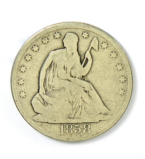 89.  1858-O Seated Liberty Half Dollar
