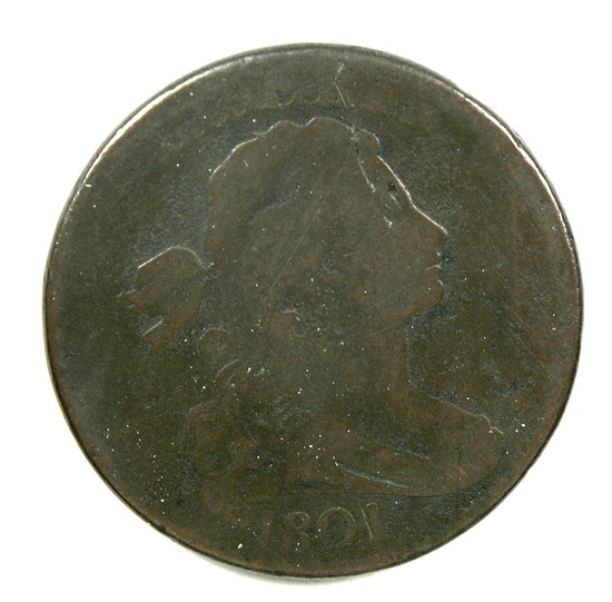 12a.1801  U.S. Draped Bust Large Cent 1/100 over 1/000