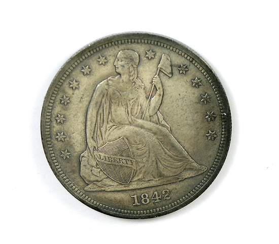 212. 1842   Seated Liberty Silver Dollar