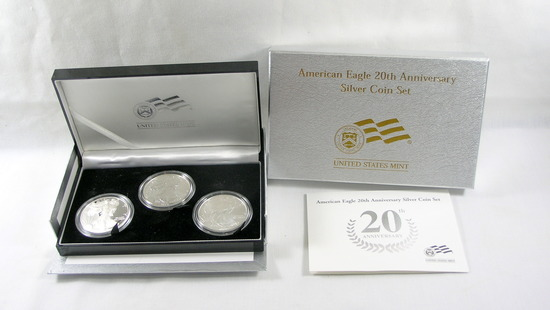 310. 2006  American Eagle 20th Anniversary Silver 3 Pc. Coin Set Boxed w