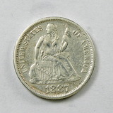 51.  1887   Seated Liberty Dime
