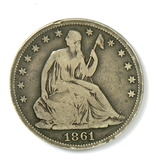 90.  1861-O Seated Liberty Half Dollar