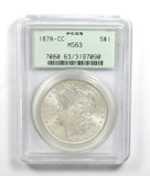 219.    1878- CC Morgan Silver Dollar PCGS Certified MS63
