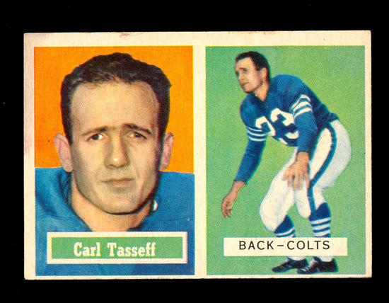1957 Topps Football Card #77 Carl Tasseff Baltimore Colts