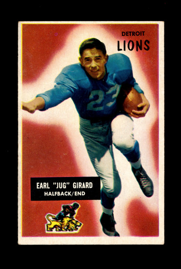 "1955 Bowman Football Card #15 Earl ""Jug"" Girard Detroit Lions"