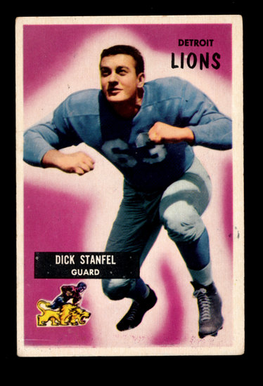1955 Bowman ROOKIE Football Card #36 Rookie Hall of Famer Dick Stanfil Detr