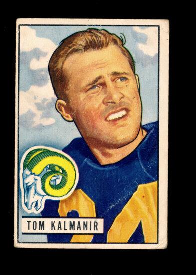 1951 Bowman Football Card #77 Tommy Kalmanir Los Angeles Rams. Creases on R