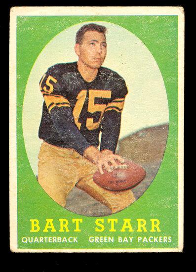 1958 Topps Football Card #66 Hall of Famer Bart Starr Green Bay Packers. Cr