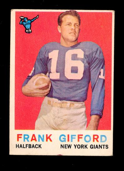 1959 Topps Football Card #20 Hall of Famer Fank Gifford New York Giants