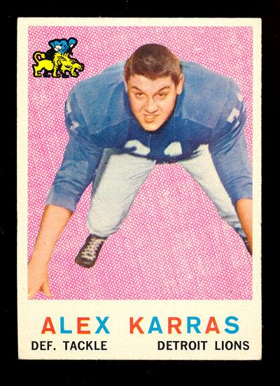 1959 Topps ROOKIE Football Card #103 Rookie Hall of Famer Alex Karras Detro