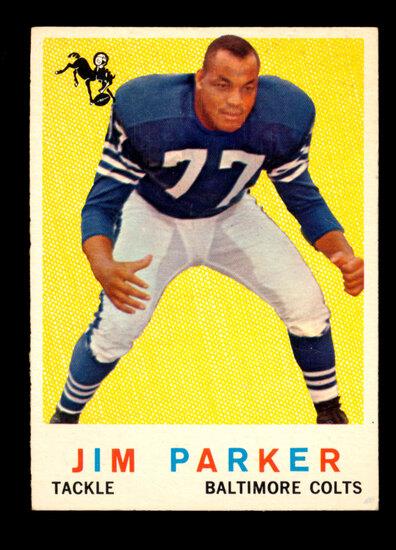 1959 Topps ROOKIE Football Card #132 Rookie Hall of Famer Jim Parker. Writi