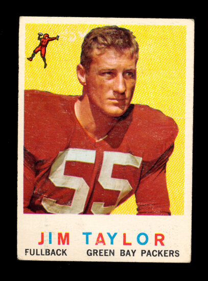 1959 Topps ROOKIE Football Card #155 Rookie Hall of Famer Jim Taylor Green