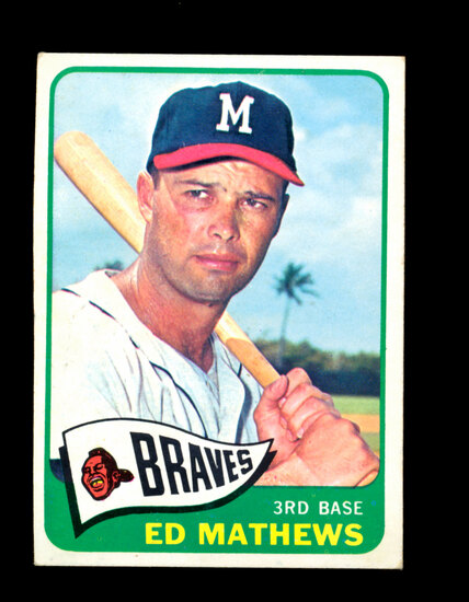 1965 Topps Baseball Card #500 Hall of Famer Eddie Mathews Milwaukee Braves