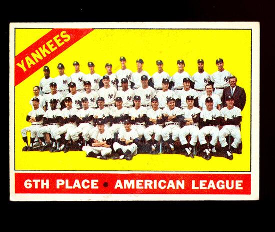 1966 Topps Baseball Card #92 New York Yankees Team Card