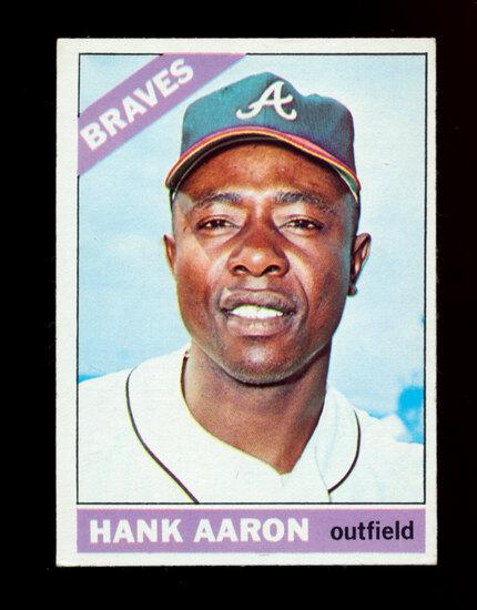 1966 Topps Baseball Card #500 Hall of Famer Hank Aaron Atlanta Braves