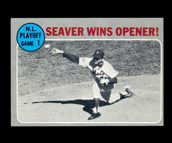 1970 Topps Baseball Card #195 National League Playoff: Seaver Wins Opener