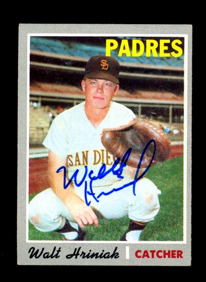 1970 Topps AUTOGRAPHED Baseball Card #392 Walter Hriniak San Diego Padres