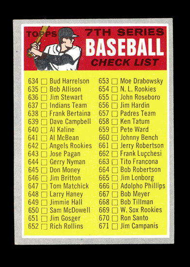 1970 Topps Baseball Card #588 7th Series Checklist 634-720. Unchecked