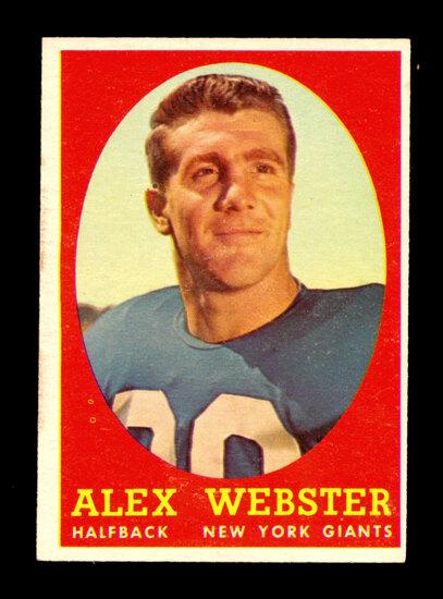 1958 Topps Football Card #30 Alex Webster New York Giants