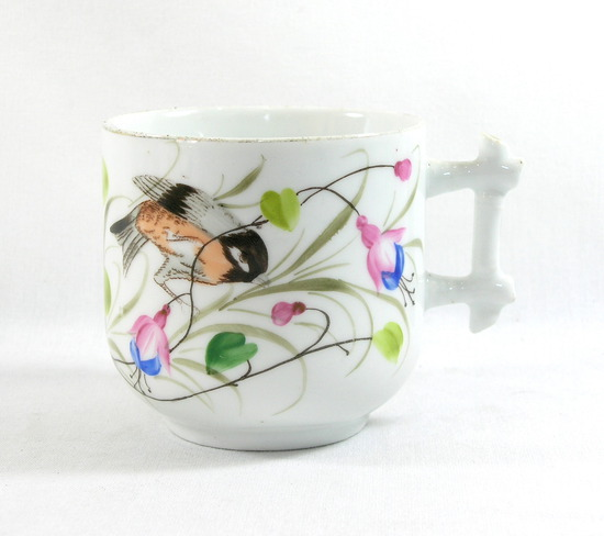 Vintage Flower and Bird Mustache Mug.