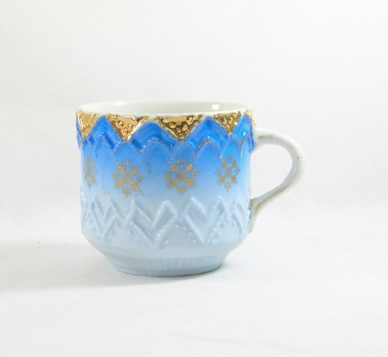 Vintage Blue and Gold Mustache Mug.